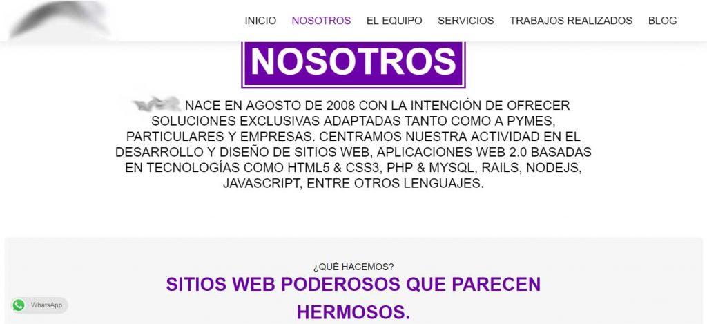 captura de pantalla de la portada de una pagina web que ofrece servicios de diseño