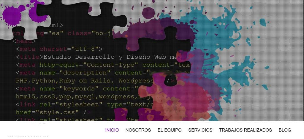 captura de pantalla de la sección sobre el scroll de la portada de una pagina web que ofrece servicios de diseño