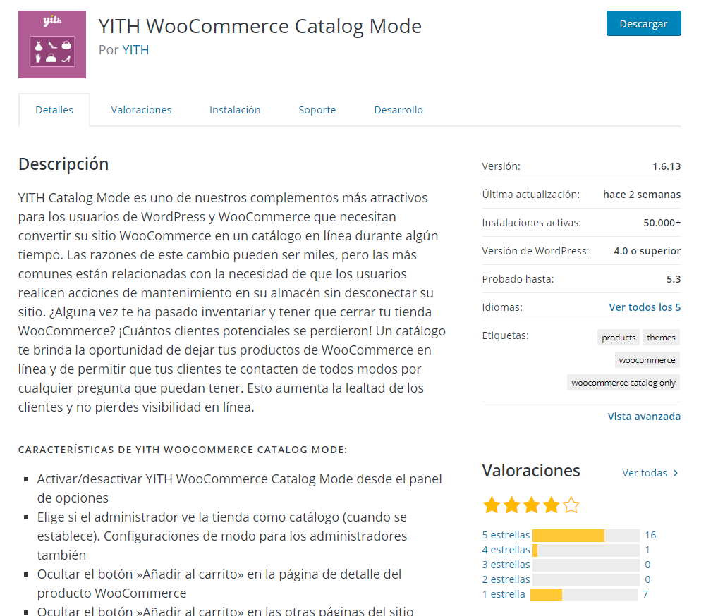 "imagen que muestra la ficha del plugin ""Yith WooCommerce Catalog Mode"" en el repositorio de plugins de WordPress"