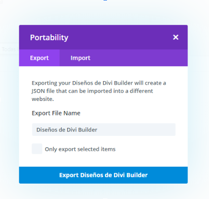 captura de pantalla de la opcion de importar y exportar diseños de Divi 4.0