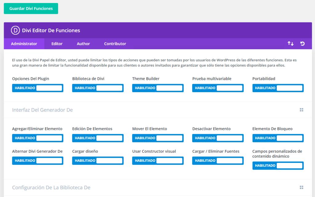 captura de pantalla de la opción de funciones , roles y capacidades de Divi 4.0