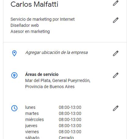 captura de una ficha de negocio de google mi negocio en la que se ve la ubicacion del comercio