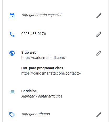 captura de una ficha de negocio de google mi negocio en la que se ven los datos del comercio