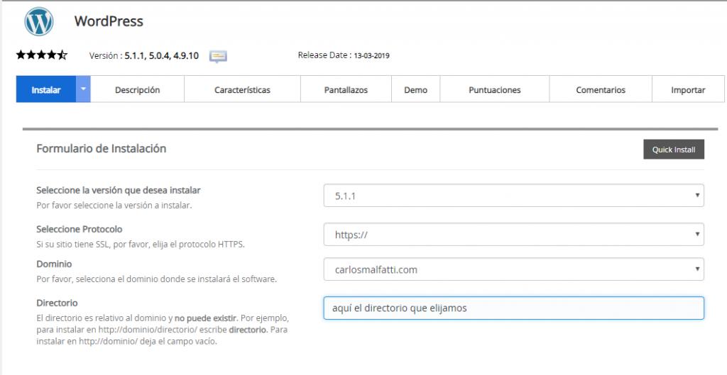 captura de la Primer pantalla del autoinstalador de WordPress en el hosting