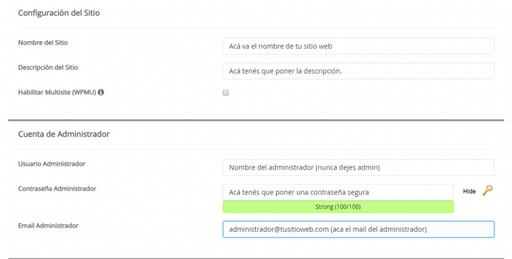 captura de la Segunda pantalla del autoinstalador de WordPress
