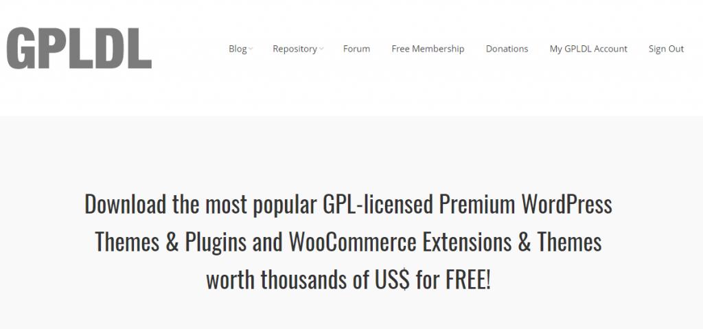 captura de pantalla de la página home del sitio gpldl.com