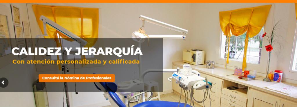 Captura de pantalla de la portada de la web del consultorio odontológico