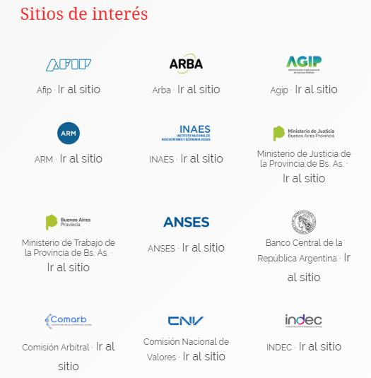 imagen que muestra enlaces a sitios de interes como afip, arba, agip, arm, inaes, anses, etc.