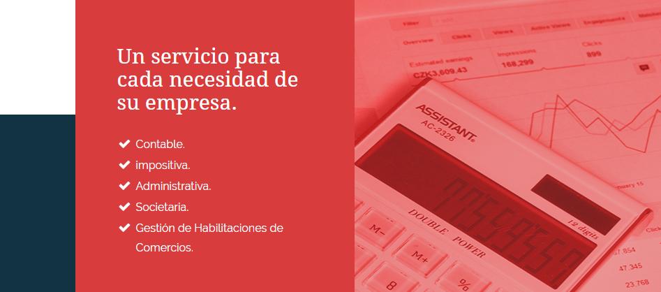 imagen en la que se muestran los servicios en la portada de un sitio web de un estudio contable