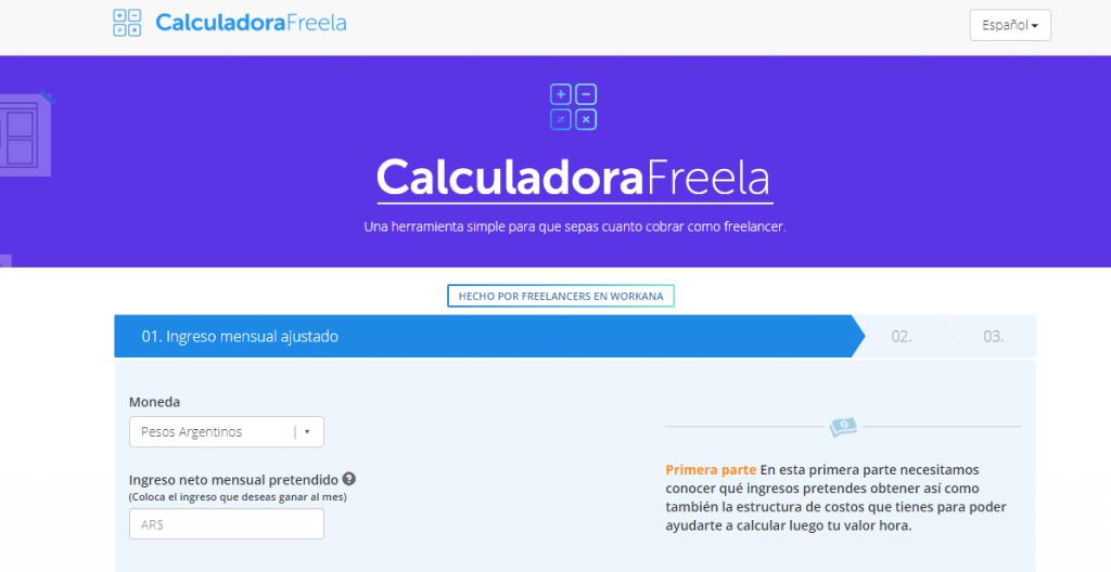 captura de pantalla del sitio freela para calcular precio hora