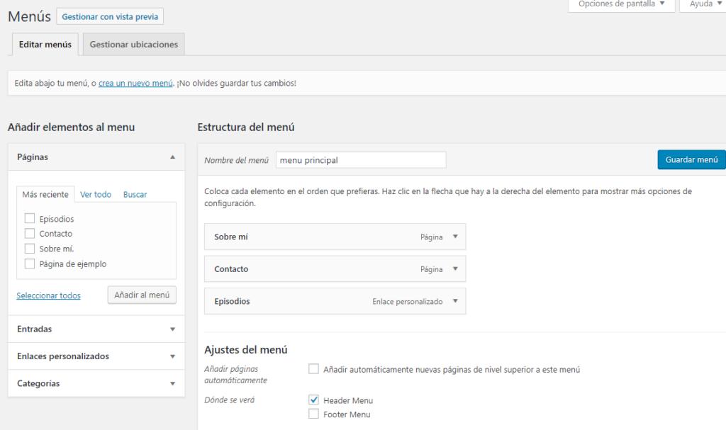 captura de pantalla que muestra como crear menus en WordPress