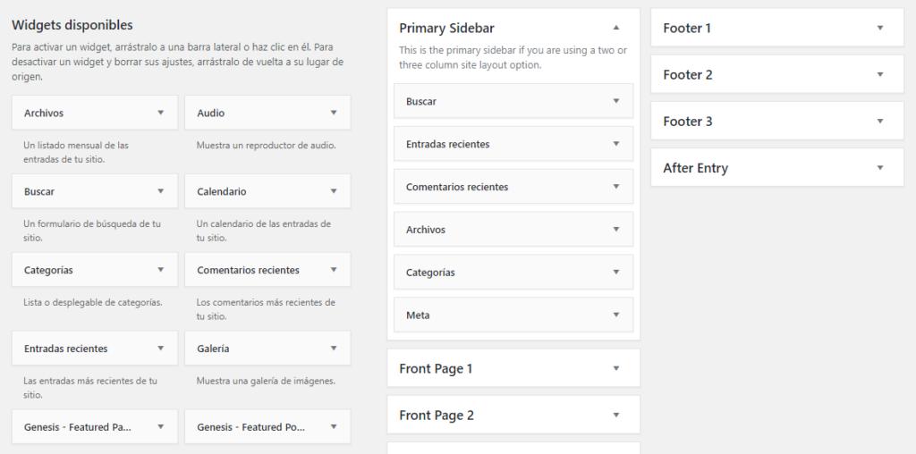 captura de pantalla que muestra los widgets y las widgets areas de una instalacion de WordPress