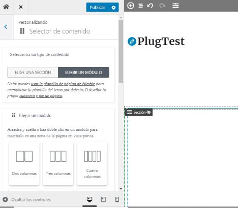 vista de los modulos y secciones del maquetador visual para WordPress nimble builder