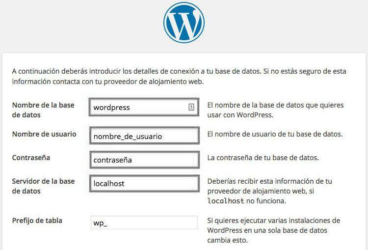 utilizar wordpress pantalla instalación
